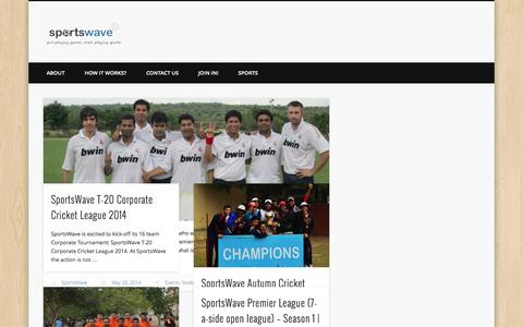 Screenshot of Blog sportswave.co.in - SportsWave | quit playing games, start playing sports - captured Sept. 23, 2014