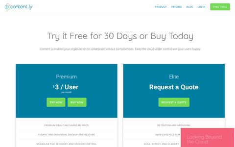 Screenshot of Pricing Page content.ly - Enable Your Organization to Collaborate Without Compromises | Content.ly - captured July 10, 2018