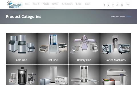 Screenshot of Products Page raqtan.com - Raqtan Food Service Commercial Equipments - captured Oct. 27, 2014