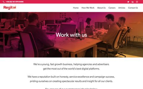 Screenshot of Jobs Page regital.com - Regital: Careers - captured Nov. 18, 2018