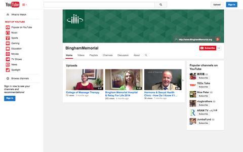 Screenshot of YouTube Page youtube.com - BinghamMemorial  - YouTube - captured Oct. 23, 2014