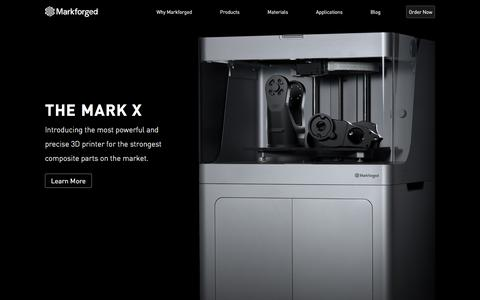 Screenshot of Home Page markforged.com - High Strength 3D Printing ― MarkForged - captured Oct. 5, 2016