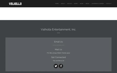 Screenshot of Contact Page valholla.com - Contact Us - Valholla - captured Feb. 23, 2016