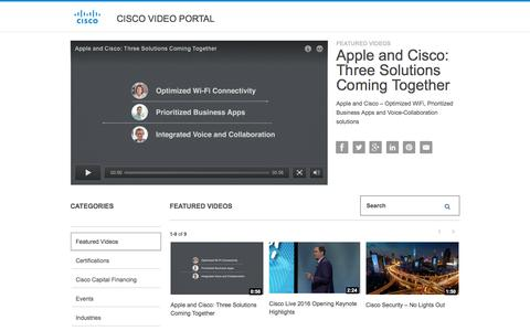 Screenshot of Products Page Services Page cisco.com - Apple and Cisco: Three Solutions Coming Together - Cisco Video Portal - captured Oct. 3, 2016