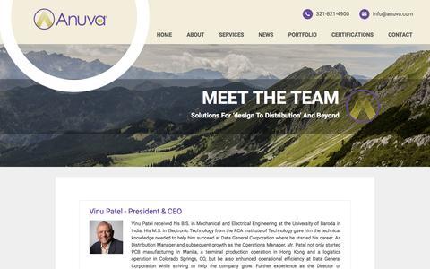 Screenshot of Team Page anuva.com - Anuva Team Members - captured May 30, 2017
