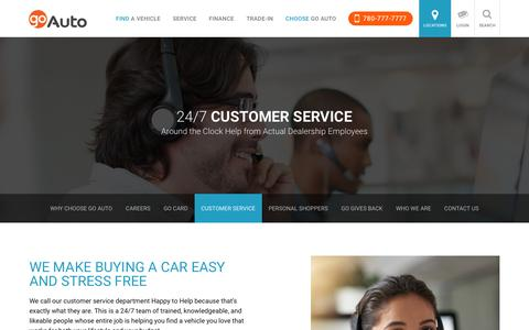 Screenshot of Support Page goauto.ca - New and Used Cars for sale in Edmonton   Go         Auto - captured April 23, 2018