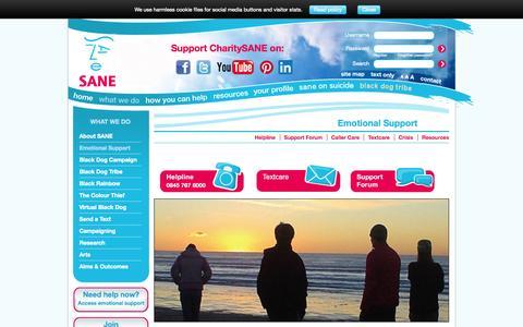 Screenshot of Support Page sane.org.uk - Mental Health Emotional Support | Mental health charity | SANE - captured Nov. 2, 2014