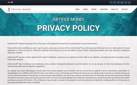 Screenshot of Privacy Page artifexmundi.com - Privacy Policy - Artifex MundiArtifex Mundi - captured May 30, 2017