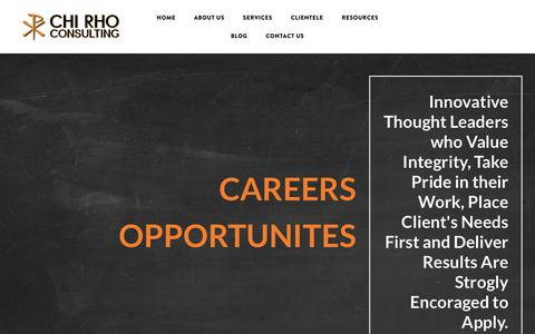 Screenshot of Jobs Page chirho.consulting - Chi Rho Consulting - Strategic Consultancy - Career Opportunities - Chi Rho Consulting - Business Strategy Consultants - captured Oct. 21, 2018