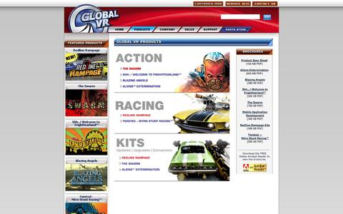 Screenshot of Products Page globalvr.com - .: GLOBAL VR :: Arcade Video Game Products Currently Available :. - captured Sept. 30, 2014