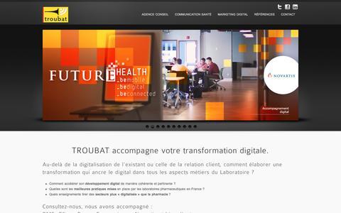 Screenshot of Home Page troubat.com - TROUBAT Agence Conseil en Stratégie de Communication Santé - captured July 19, 2016