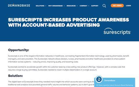 Screenshot of Case Studies Page demandbase.com - Surescripts increases product awareness with Demandbase - captured Nov. 6, 2019