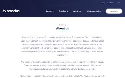 Screenshot of About Page sensolus.com - [:About Us   Sensolus: Tracking Solution For Non-Powered Assets - captured Feb. 10, 2020