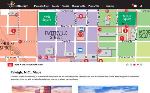 Screenshot of Maps & Directions Page visitraleigh.com - Raleigh, N.C., Maps | Downtown Raleigh Map - captured Sept. 22, 2018
