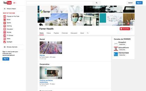 Screenshot of YouTube Page youtube.com - Ferrer Health  - YouTube - captured Oct. 22, 2014