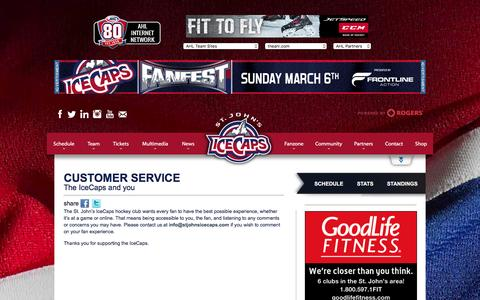 Screenshot of Support Page stjohnsicecaps.com - Customer Service | St. John's IceCaps | AHL - captured Feb. 22, 2016