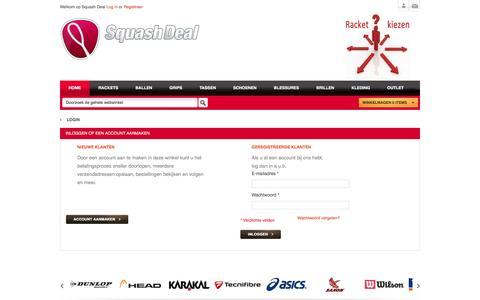 Screenshot of Login Page squashdeal.nl - Klant-login - captured July 9, 2016