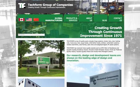 Screenshot of Home Page techform.com - Techform Group of Companies - captured Oct. 9, 2014
