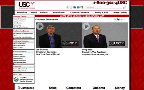 Screenshot of Testimonials Page uscny.edu - Corporate Testimonials | USC The Business College - captured Oct. 3, 2014