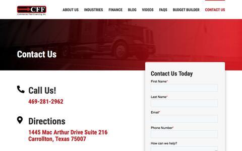Screenshot of Contact Page commercialfleetfinancing.com - Contact Us - captured Feb. 20, 2020