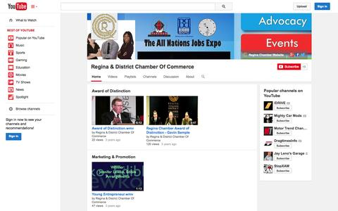 Screenshot of YouTube Page youtube.com - Regina & District Chamber Of Commerce  - YouTube - captured Nov. 5, 2014
