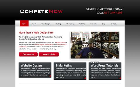 Screenshot of Home Page startcompeting.com - Compete Now Website Design | Google Adwords Consulting | Boston MA - captured Sept. 24, 2014