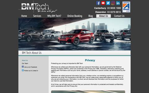 Screenshot of Privacy Page bmtech.com.au - BMTech | Privacy Statement - captured July 31, 2018