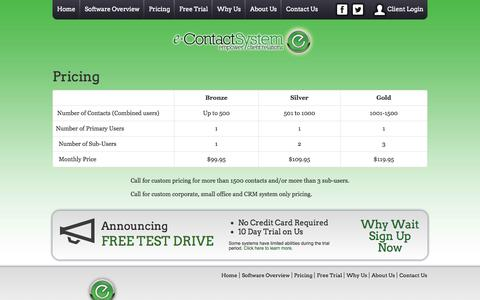 Screenshot of Pricing Page econtactsystem.com - Pricing - e-Contact System - Personalized Contact Marketing - captured Oct. 3, 2014