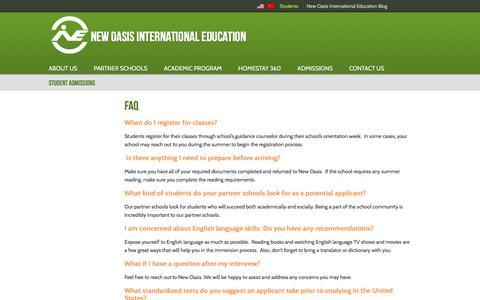 Screenshot of FAQ Page newoasisedu.com - » FAQ - captured Feb. 14, 2016