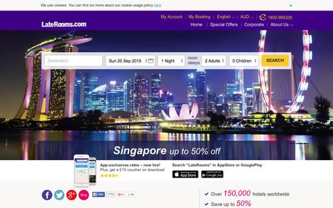 Screenshot of Home Page laterooms.com.au - AsiaRooms | LateRooms - Last Minute Hotel Deals & Cheap Hotels - captured Sept. 20, 2015
