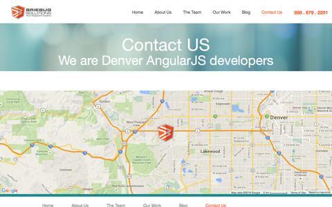 Screenshot of Contact Page briebugsoftwaresolutions.com - BrieBug Software Solutions   Web & Mobile App Development  AngularJS Denver   HTML5 - captured June 28, 2016