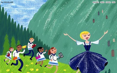 Screenshot of Home Page alidouglass.com - Illustration portfolio for editorial, books, advertising, lifestyle, fashion, and kids. - captured Oct. 4, 2014