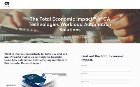 Screenshot of Landing Page ca.com - The Total Economic Impact™ of CA Technologies Workload Automation Solutions - CA Technologies - captured Sept. 19, 2018