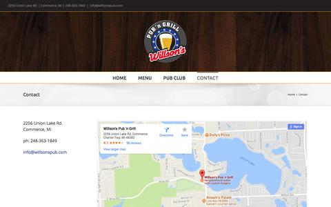 Screenshot of Contact Page willsonspub.com - Contact – Willson's Pub n Grill - captured Oct. 21, 2017