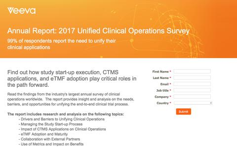 Screenshot of Landing Page veeva.com - European 2017 Unified Clinical Operations Report - captured Sept. 26, 2018