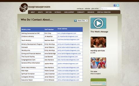 Screenshot of Team Page collegewes.com - Who Do I Contact About...  - College Wesleyan Church - captured Oct. 3, 2014