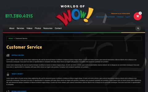 Screenshot of Support Page worldsofwow.com - Customer Service - captured Nov. 30, 2016