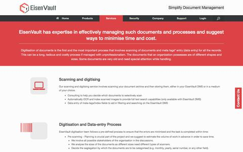 Screenshot of Services Page eisenvault.com - Digitisation of Records for Ease, Safety, Efficiency and Productivity - captured Nov. 24, 2017