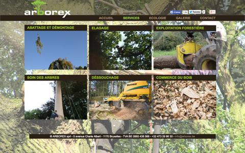 Screenshot of Services Page arborex.be - Les services d'Arborex - Abattage et démontage, Elagage, Exploitation forestière, Soin des arbres, Déssouchage, Commerce du bois - captured Oct. 4, 2014