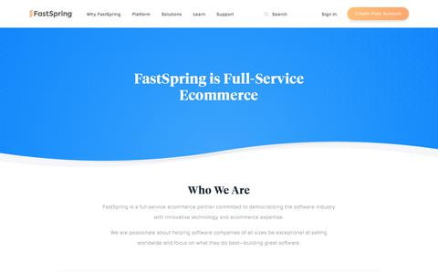 Screenshot of About Page Contact Page fastspring.com - About FastSpring | Enabling Total Flexibility in Your Digital Shopping Experience - captured July 22, 2019