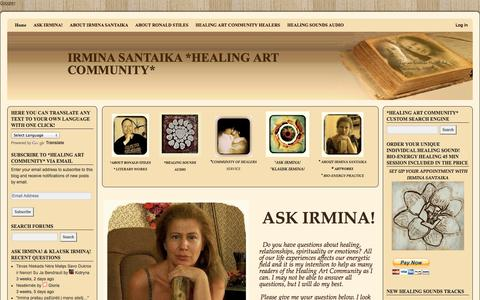 Screenshot of Home Page healing-art-community.com - Bio-Energy Distant Healing & Unique Individual Healing SoundIRMINA SANTAIKA *HEALING  ART COMMUNITY* - captured Oct. 6, 2014
