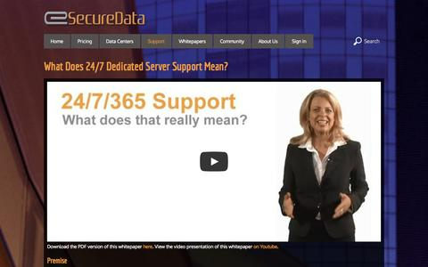 Screenshot of Support Page esecuredata.com - Dedicated Servers | eSecureData   What Does 24/7 Dedicated Server Support Mean? - captured Oct. 31, 2014