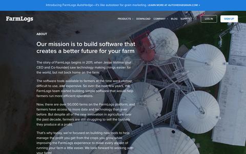 Screenshot of About Page farmlogs.com - Farm Management Software   Grain Marketing Software   Free Farming App   Farm Rainfall Tracking Farm Record Keeping   Farm Planning - captured Feb. 13, 2019