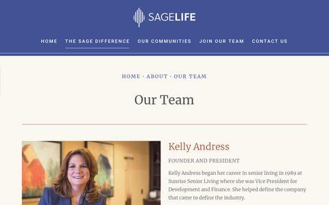 Screenshot of Team Page sagelife.com - Our Team | SageLife - captured Jan. 21, 2019