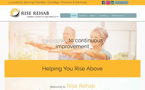 Screenshot of Home Page riserehabaz.com - Physical Therapy Southeast Valley | Rise Rehab - captured Oct. 7, 2017