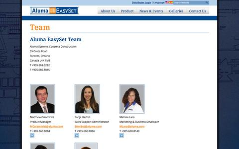 Screenshot of Team Page alumaeasyset.com - Team | Aluma EasySet - captured Oct. 4, 2014