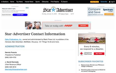 Screenshot of Contact Page staradvertiser.com - Contact Us | Honolulu Star-Advertiser - captured Jan. 12, 2020