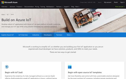 Screenshot of Developers Page microsoft.com - Building IoT Apps on Azure | Microsoft Azure - captured Oct. 20, 2018