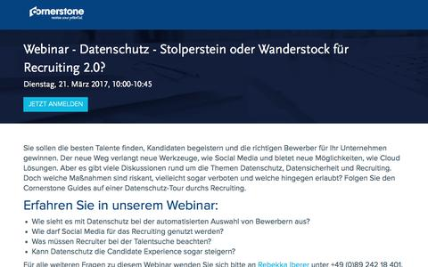 Screenshot of Landing Page cornerstoneondemand.com - Webinar - Datenschutz - Stolperstein oder Wanderstock für Recruiting 2.0? - captured March 30, 2017