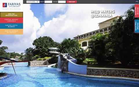 Screenshot of Home Page fariyas.com - Fariyas Group of Hotels in Mumbai, Resorts in Lonavala - captured Feb. 9, 2016